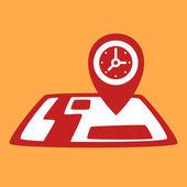 On map  Clock.  — Vettoriale Stock