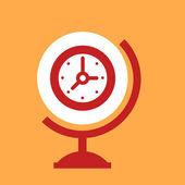 On the globe  Clock.  — Stock Vector