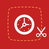 Scissors cut sticker with a  Clock — Vecteur