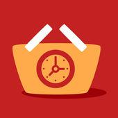 Shopping cart with  Clock.  — Stock Vector