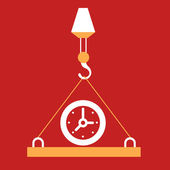 At the plate which raises hook  Clock.  — Stock Vector