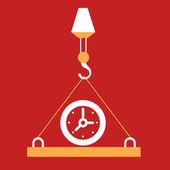At the plate which raises hook  Clock.  — Vecteur