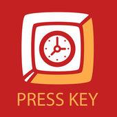 Keyboard key  Clock.  — Vettoriale Stock