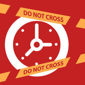 Do not cross the line crossing a  Clock.  — Stock Vector