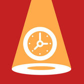 Bright spotlight illuminates the  Clock.  — Stock Vector