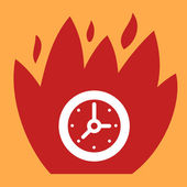 Fire surround  Clock.  — Stock Vector