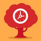Clock grows  on tree  — Stock vektor