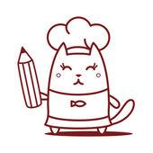 Chef-kok in een bedrijf een potlood Koksmuts — Stockvector