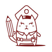 Police holding a pencil — Stock Vector