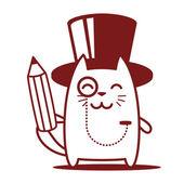 богатый джентльмен, держа карандаш — Cтоковый вектор
