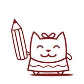 маленькая девочка держит карандаш — Cтоковый вектор