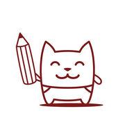 Маленький мальчик, держа карандаш — Cтоковый вектор