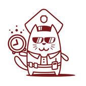 Police in officer's cap — Vector de stock