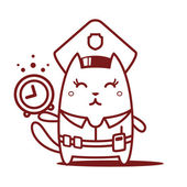 Police in officer's cap and holding a alarm clock — Stock Vector