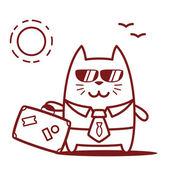 Businessman in sunglass holding a travel suitcase — Stockvektor