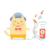 Musician in costume, hat and bow tie — Stock Vector