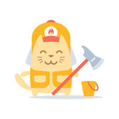 Firefighter in overalls and helmet — Stock Vector