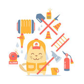 Character firefighter in coveralls and helmet — Stock Vector