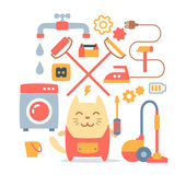 Character home handyman in uniform — Stock Vector