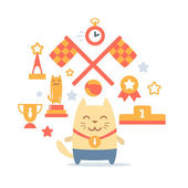 Character winner with a medal colorful flat composition of professional accessories — Stock Vector