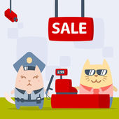 Character police in officer's cap and in the form of police — Vector de stock