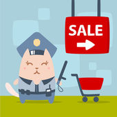 Character police in officer's cap and in the form of police — Stock Vector