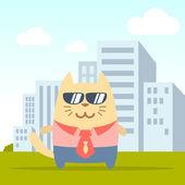 Teken zakenman in een pak met een gelijkspel en zonnebril — Stockvector