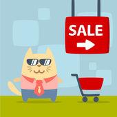 Karaktär affärsman i kostym med slips och solglasögon — Stockvektor
