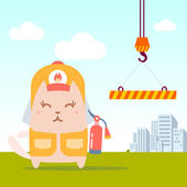 Character firefighter in coveralls and helmet colorful flat — Vector de stock