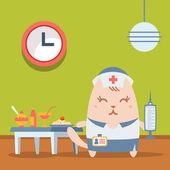 Karaktär sjuksköterska i uniform med en medicinsk cap färgglada platt — Stockvektor