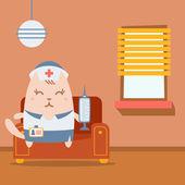 медсестра характера в униформе с медицинской кепкой красочная квартира — Cтоковый вектор