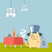 Character rich gentleman in a hat cylinder and a monocle colorful flat — Vector de stock