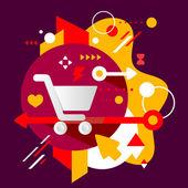 Shopping trolley — Stock Vector