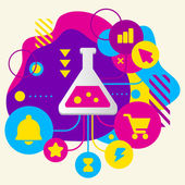 Laboratory flask on abstract colorful spotted background with di — Wektor stockowy