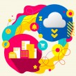 City buildings and cloud — Stockvector