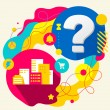 City buildings and question mark — Stockvector