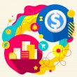 City buildings and dollar sign — Stockvector
