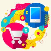 Торговые тележки и мобильный телефон — Cтоковый вектор