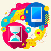 Hourglass and mobile phone — Stockvector