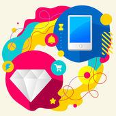 Diamond and mobile phone — Stock Vector