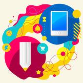 鉛筆と携帯電話 — ストックベクタ