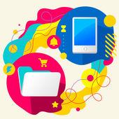 フォルダーと携帯電話 — ストックベクタ