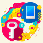 Key and mobile phone — Stock Vector