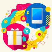 Gift box and mobile phone — Cтоковый вектор