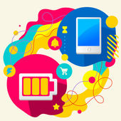 Battery and mobile phone — Stock Vector