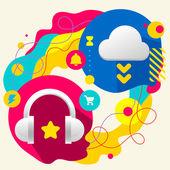 Headphones and cloud — Stock Vector
