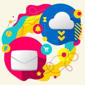 Kuvert och moln — Stockvektor