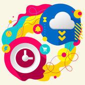 Clock and cloud — Vecteur