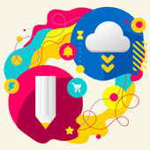 Pencil and cloud — Stockvector