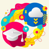 Academic hat and cloud — Stock Vector